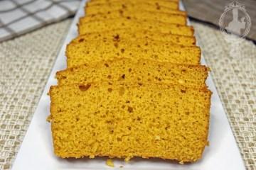 A serving plate of sliced Pumpkin Pie Bread.