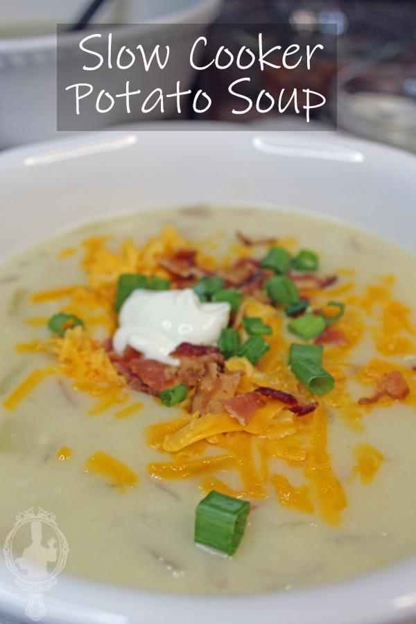 Close up of a bowl of crockpot potato soup.