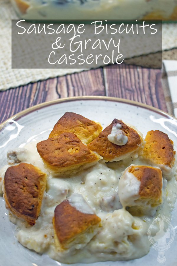 A plate of sausage biscuits and gravy casserole, ready to chow down.