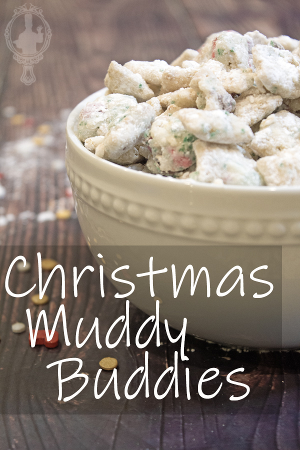 Close up of a bowl of Christmas Muddy Buddies
