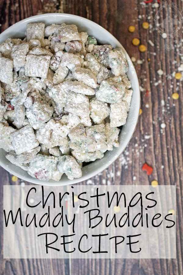 Overhead view of Christmas Muddy Buddies in a white bowl.