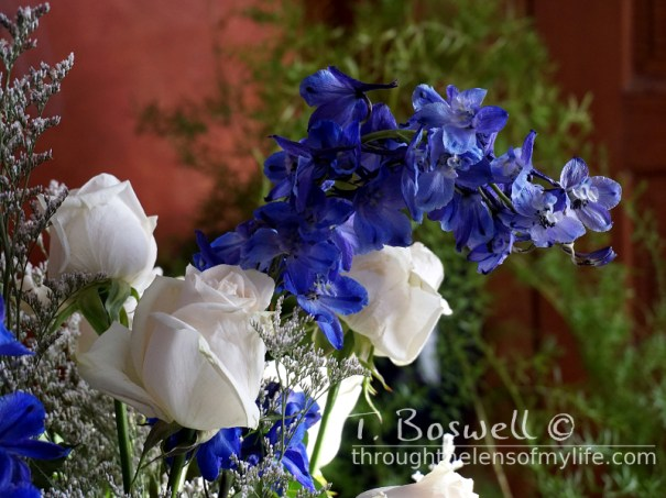 I used Dephinium with white roses to make the flower arrangements.