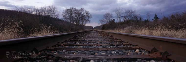 Evening view down the tracks. Sugar Loaf, NY. November 2015.