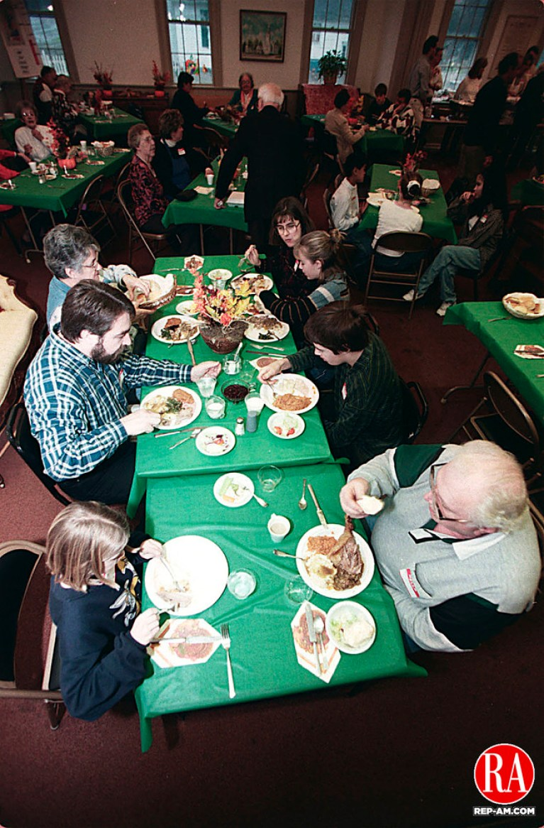 WOODBURY, CT. 11/26/98 -1126CA3A.tif About 25 people gathered to eat 5 turkeys weighing 15 lbs. each at a Thanksgiving dinner at the First Congregational Church in Woodbury.  In the photo, (bottom left to top right)  Brittany Banta 9, her garandfather Paul Plainer accross the table, George Banta in the middle with his son Dan 14, and daughter Holly 13, along with their grandmother June Plainer (top left) and mother Sharon Banta.  The Banta family is from Woodbury and the Plainers traveled from Ledyard. --Craig Ambrosio  Staff photo
