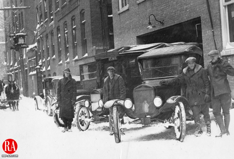 Delivery men preparing to deliver the Waterbury Republican during a snow storm in the winter of 1926.