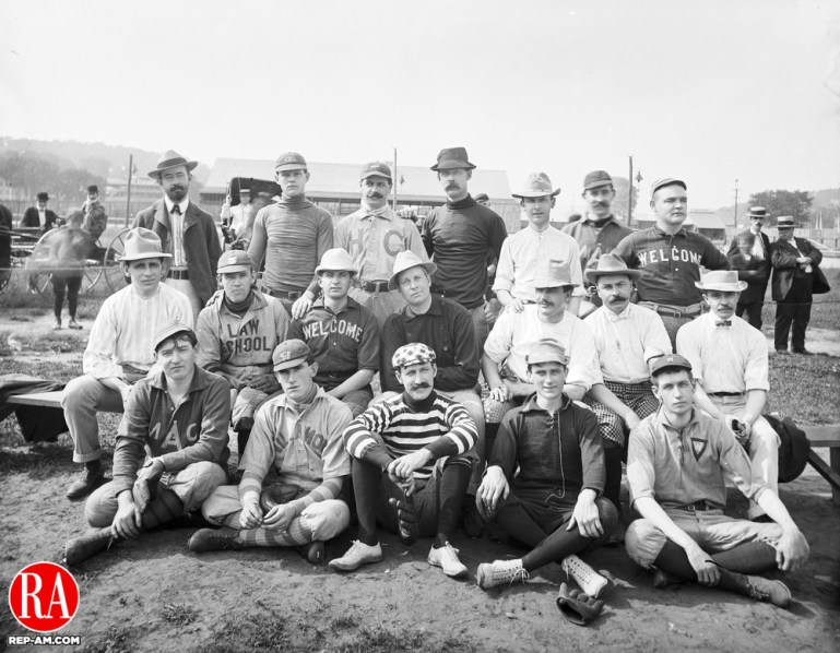 "The group in this 08 September 1900 photograph is identified as ""Drs. Baseball Team."" Those in the photograph are, seated in the front row from left to right: Dr. C.A. Monaghan, Dr. T O"