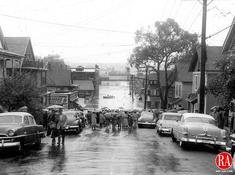 Foot of West Main Street looking towards the city. 19 August 1955, Waterbury