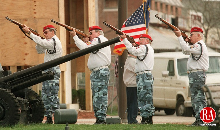 December 7, 1998 - WATERTOWN -The firing squad from VFW Post 5157 of Watertown fired three volleys during the Pearl Harbor Day ceremonies in Oakville. Photo by John Harvey Republican-American