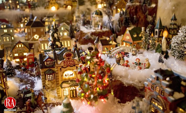 WATERBURY, CT- 18 DECEMBER 06- 121806JT02- Rose Brunetti sets up a Christmas village every year with Lemax village collectibles in her Waterbury home. Josalee Thrift Republican-American