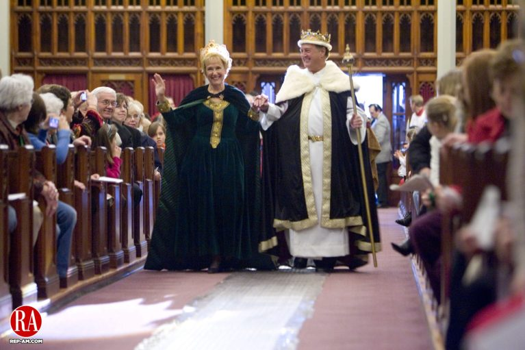 January 6, 2008 - WATERBURY - Denise and Roger Boucher, as the King and Queen, walk up the Shrine of Saint Anne in Waterbury during the church
