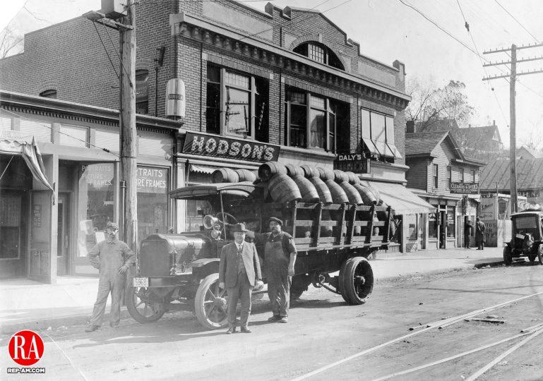 Street scene in Naugatuck, circa 1920
