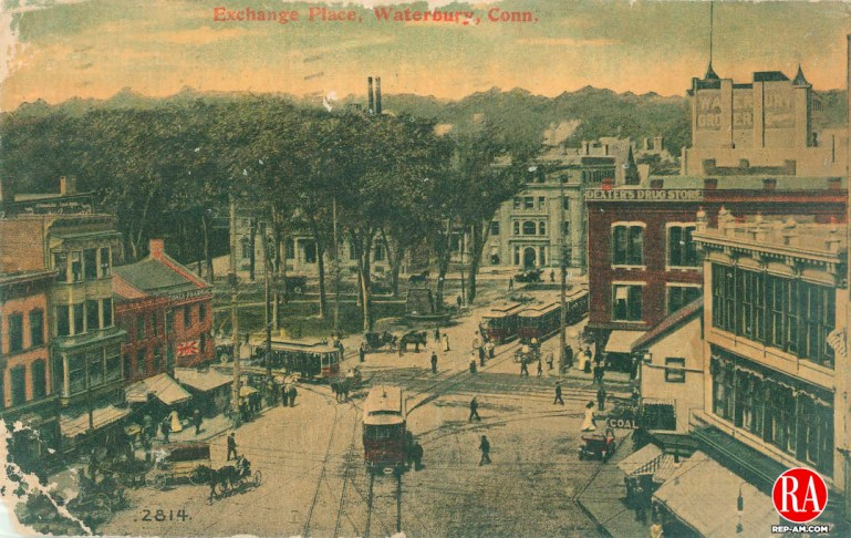 """Waterbury 1911 Postcard with the caption """"Exchange Place, Waterbury, Conn."""""""