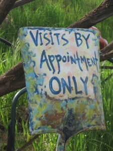 I can't imagine anyone stumbling upon Eliphante, this photo shows the clever signs reminding members that visits are by appointment only.