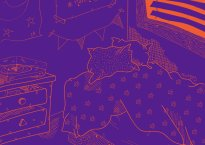 "Purple and orange artwork for Pandafan's single, ""November."""