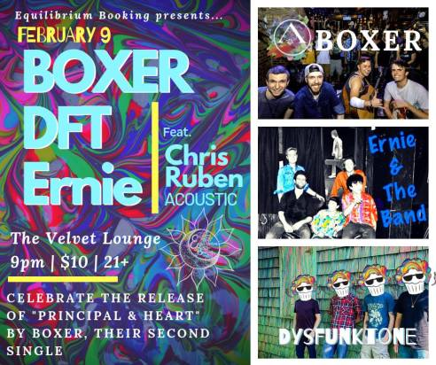 Promotional Flyer for Boxer's single release party at The Velvet Lounge, Saturday, February 9, 2019