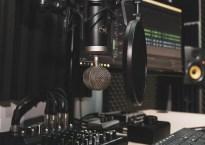 Microphone in studio setup