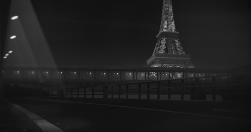 """Black and white screenshot of the Eiffel tower from the new game """"Night Call"""""""