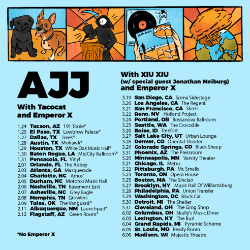 Flyer for the upcoming tour bu Phoenix, AZ folk punk band, AJJ
