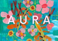 "Multi-colored album artwork with primarily teal background color. Title of ""Aura"" is displayed overtop."
