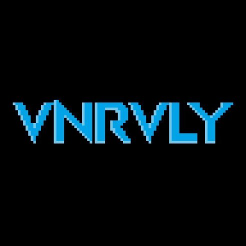 """Blue text in pixelated style that reads, """"VNRVLY,"""" against black background"""