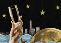 """Black background with New York City skyline in the background; cartoonish water in the foreground. A giant moon sits in the water and a hand holding some champagne in a glass is on the left in th foreground of the picture. Text at the top in stylized gold reads: """"Jukebox the Ghost, Cheers"""""""