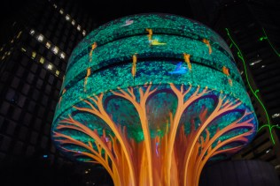A water tower became a tree thanks to an amazing laser show.