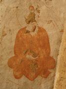 Fast unzerstörte Felsmalerei in einer der buddhistischen Höhlen von Bamian.