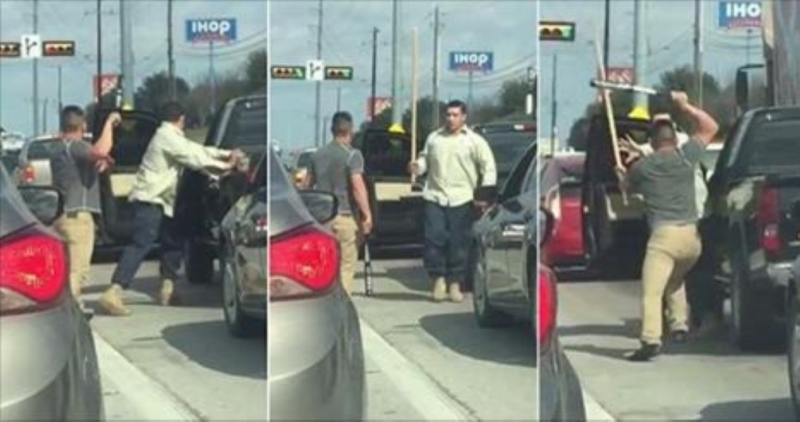 Texas Road Rage Escalates As Two Men BEAT One Another With