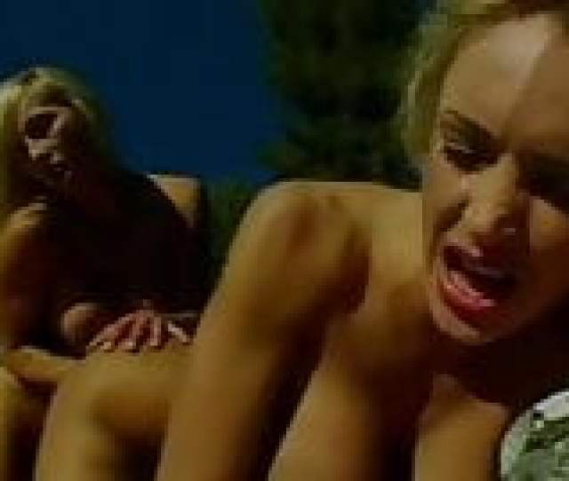 Two Busty Blondes Fuck Each Other With Sex Toys By Pool