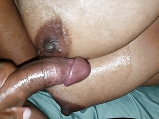 Cum on black lover's immense knockers once more