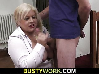 Busty blonde plumper swallow his colossal shaft for job