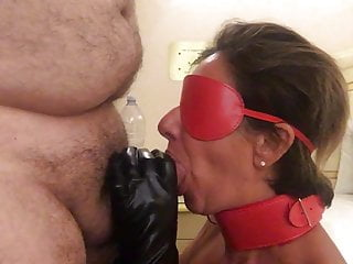 My slave while giving me a blowjob
