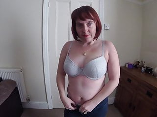 Horny mom strips off nude