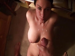 Busty Hottie Cock licking And Cum On Jugs