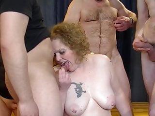 Gangbang with curvy old horny milf
