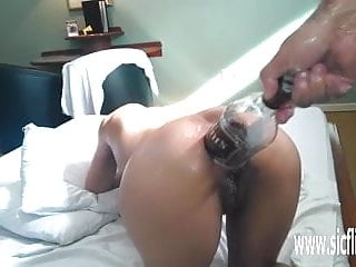 Anal fisting and XXL whiskey bottle penetration