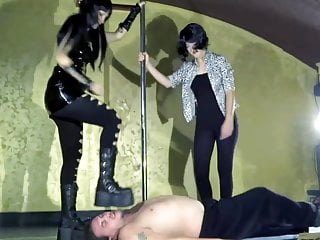Two Mistresses Trample Their Slave