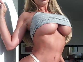 Dumb blonde Sophie dalzells big ass bimbo tits