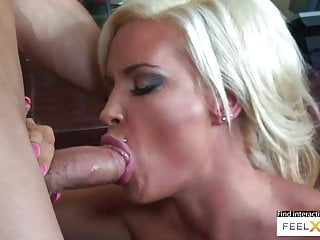 Old blonde with immense titties loves youthful immense cocks