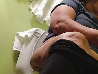 Mexican thick granny utilizing restroom (hidden can)