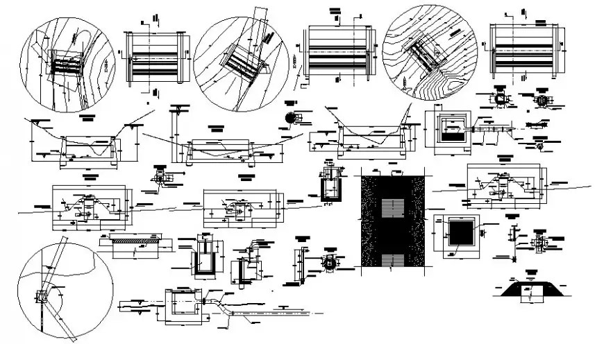 Electrical motor elevation and section 2d view layout file