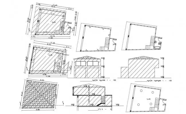 Plan and section auditorium and acoustic detail layout