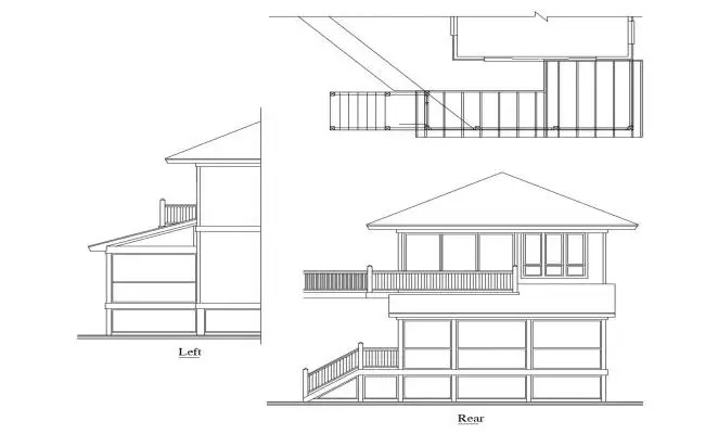 Two story house main elevation and framing plan cad