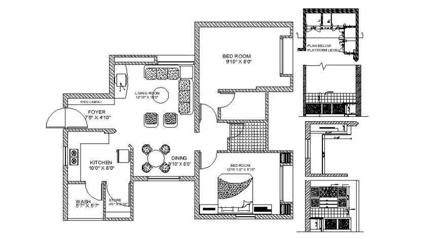 2d Center line plan of house CAD drawings in autocad