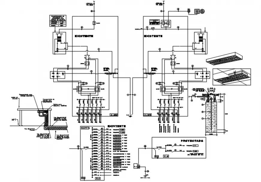Electrical layout plan, installation and riser diagram
