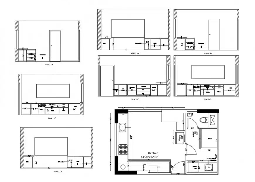 Chimney of kitchen elevation, section and plan details dwg