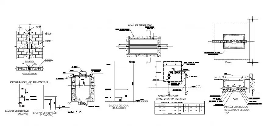Wash basin cut section and plumbing structure drawing