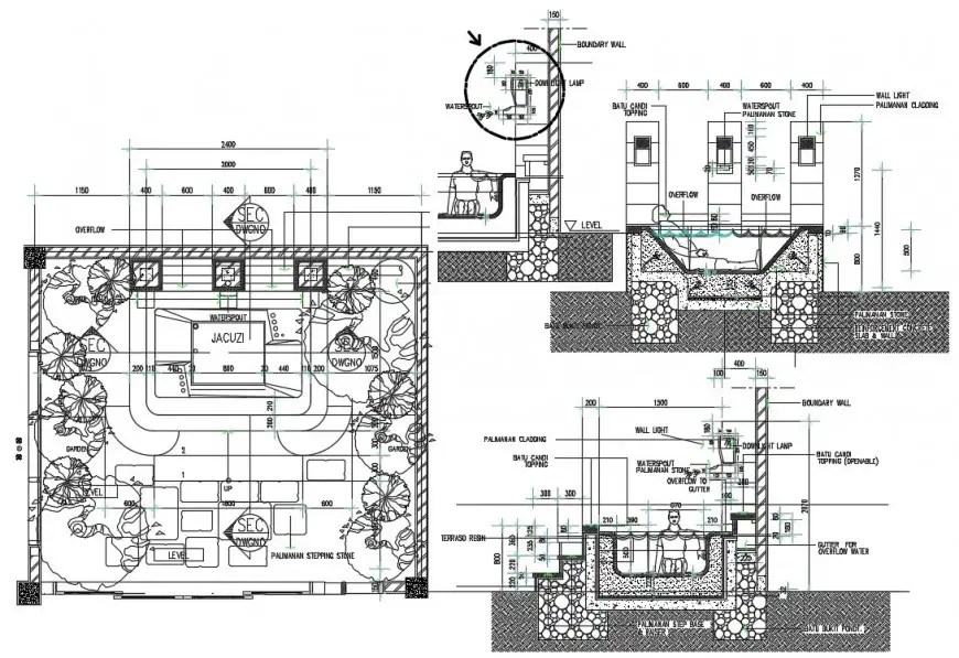 Fire water tank section, plan, structure and plumbing