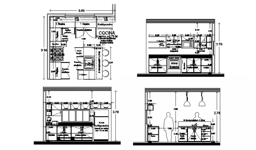 Kitchen water sink section and plumbing structure cad