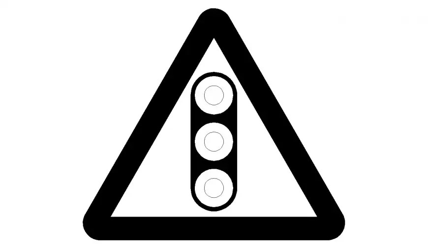 Traffic sign traffic light warning sign image in dwg